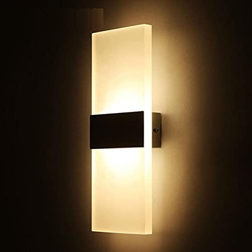Lámpara de pared moderna de acrílico LED, moderna lámpara de pared, lámpara de pared de acrílico para dormitorio, pasillo, escaleras, baño (luz negra/blanca, tamaño: 14 x 6 cm)