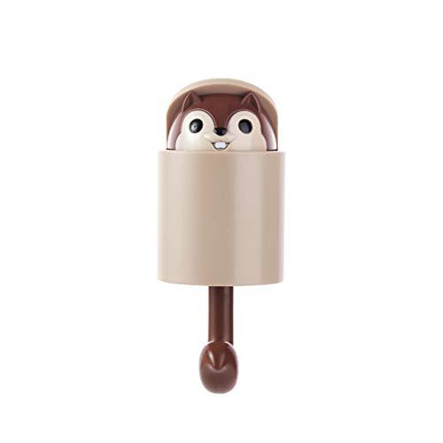 DOITOOL Cartoon Eichhörnchen Wand Stecker Haken hängen Schlüssel Haken Wand Kleiderbügel für Küche Bad Mantel Hut (braun)