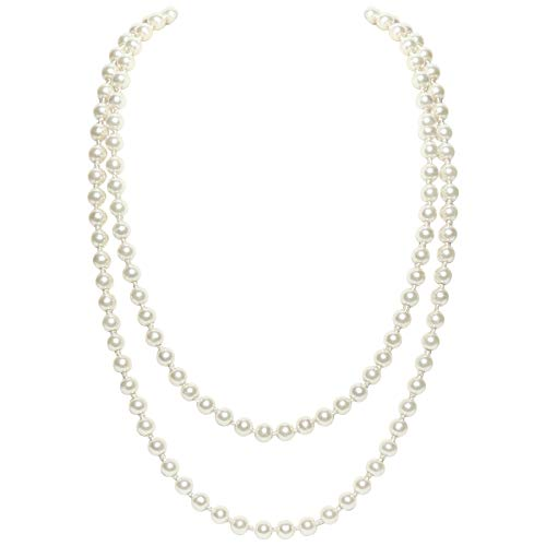 BABEYOND Modische Imitation Perlen Kette Flapper Art Deco 1920s Gatsby Kostüm Accessoires Lange Perle Halskette 140cm / 55
