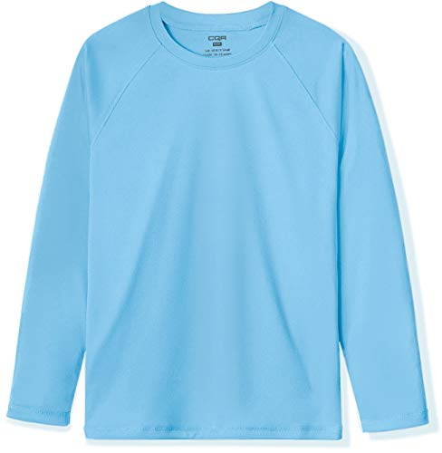 CQR Kids Youth UPF 50+ Sun Shirts, Dry Fit Long Sleeve T Shirt, UV Sun Protection Fishing Shirts, Athletic Sports Tee, Long Sleeve UV Sun Shirt Ocean, 8