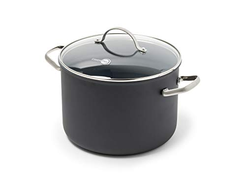 GreenPan Stockpot with Lid, Non Stick, Toxin Free Ceramic Stock Pot - Induction & Oven Safe 24 cm/7.6 Litre, Black