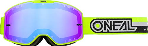 O'Neal | Gafas de Motocross | MX MTB DH FR Downhill Freeride | Correa ajustable, comodidad óptima, ventilación perfecta | Gafas B-20 | Mujeres | Neon Yellow Negro Mirrored | Talla Única