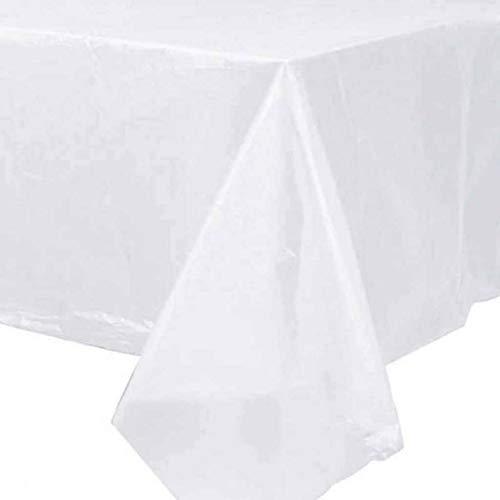 Wegwerp Plastic Tafelkleed Rechthoekig Hotel Banket Tafelkleed Thuis Bruiloft Kerst Tafelkleed Huis Buiten Decoratie-160x160cm(63x63inch)-22Portion-wit