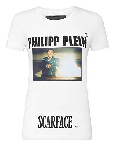 Philipp Plein Mujer T-Shirt Round Neck SS Scarface Blanco X-Large