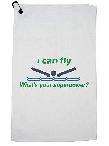 Hollywood-draad die ik kan vliegen wat is jouw supermacht? Zwembad Golf Handdoek met Karabijnhaak Clip