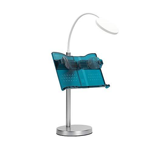 ブックスタンド 照明付き 書見台 本立て データホルダー ブックホルダー 多段階調節 筆記台 iPad/携帯適用 紙が傷つかない ラバークリップ付 ブックホルダー 【品質保証】