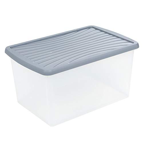 Aufbewahrungsbox mit Deckel Archivbox für Aktenordner Kunststoffbox Organizer Stapelbox Stapelkiste Plastikbox Kunststoff Behälter Regalbox XXL Kiste Transportbox Universal Box 54 Liter Transparent