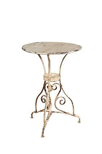 Biscottini Table ronde en fer forgé finition blanche vieillie L56 x PR56 x H77 cm