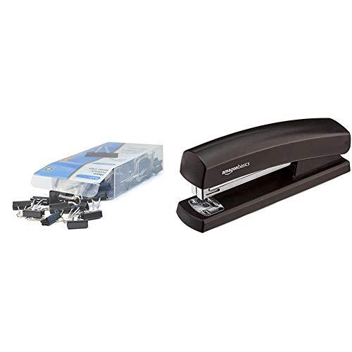 Rapesco Accesorios - Caja de 80 pinzas/clips de 19mm, hasta 75 hojas negras + Amazon Basics - Grapadora con capacidad 1000 grapas, color negro