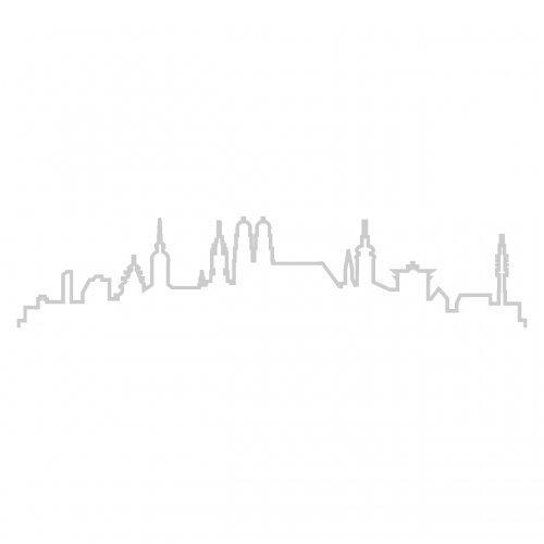 Skyline4u Kontur München Skyline Silhouette Aufkleber in 8 Größen und 25 Farben (25x5,5cm silbermetalleffekt)