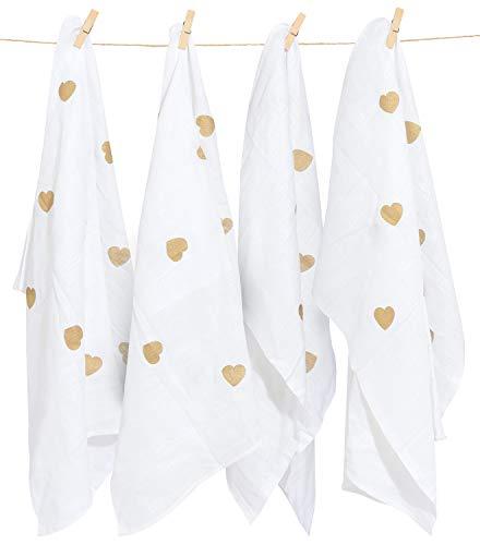Muselina Cuadrada - Paños 100% algodón para bebés recién nacidos - Envoltorio de tela grande, toalla de té, funda de lactancia y toallas faciales - Toallitas absorbentes suaves - Paquete de 4