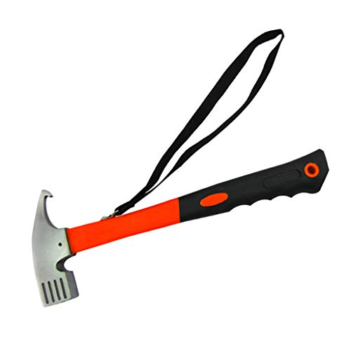 B Blesiya Martillo para tienda de campaña, martillo con correa de mano para piquetas, color naranja