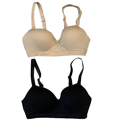 Felina Women's 2 Pack Contour Cup Seamless Wire Free Bra (Black/Nude, Large)