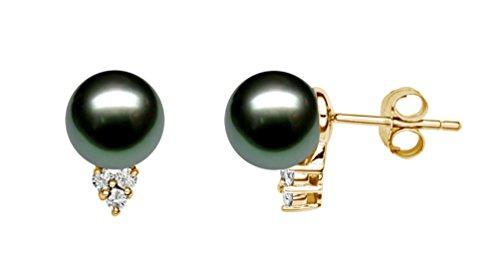 14 K amarillo oro AAA color negro perla tahitiana pendientes del perno prisionero del diamante