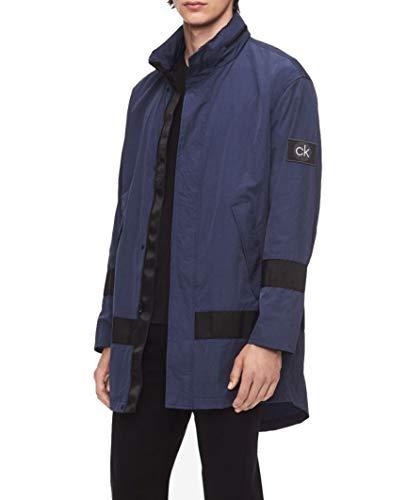 Calvin Klein Men's Lightweight Striped Mid-Length Raincoat Jacket Navy Size L