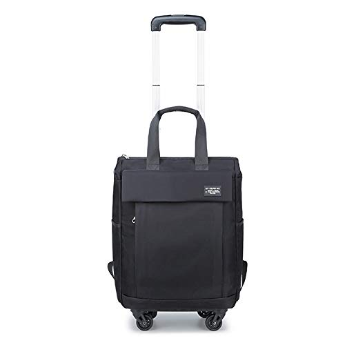 Luggage Carry On Trolley Suitcase with Backpack and Pouch,Large Wheeled Laptop Case (Black) (S,A)