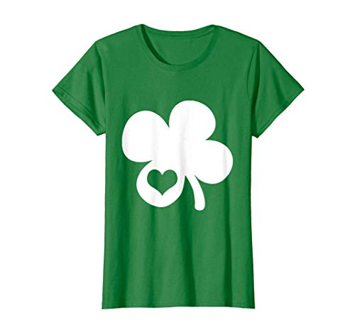 Womens Cute Shamrock Shape Heart St. Patricks Day T-Shirt