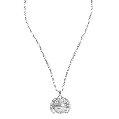 Yehwang Vintage Gold Silber Medaillon Foto Halskette Kugel mit Engelsflügel - Perfektes Bild - 90cm - Premium Design Damen Modeschmuck