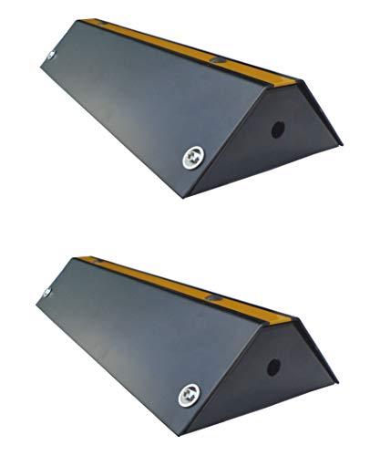 SNS SAFETY LTD Stahl-Radstopper, mit geringer Bauhöhe für Parkplätze und Garagen, 42x16x7 cm (2er Pack)