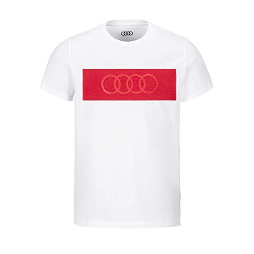 Audi Camiseta con Anillos Hombre, Color Blanco, Talla L