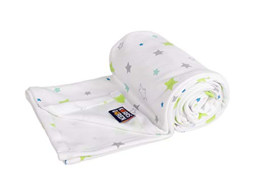 Kaarsgaren Manta de algodón orgánico para bebé y niños, para el verano, para niños y niñas, manta para el cochecito, manta de bebé, manta de verano (estrellas blancas, 70 x 100 cm)