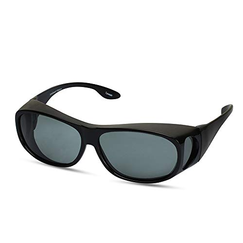 LensCovers Wear Over Sunglasses Size Medium Black with Smoke Lens - Fit Over Style