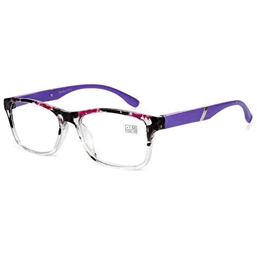 VEVESMUNDO VEVESMUNDO Lesebrille Damen Herren Halbrahmen Federscharnier Vintage Halbbrille Lesehilfe Sehhilfen Brillen mit Stärke 1.0 1.5 2.0 2.5 3.0 3.5 4.0 (Lila, 3.5)