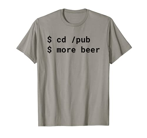 cd /pub più birra Pun Black Design per Command Line Hacker Maglietta