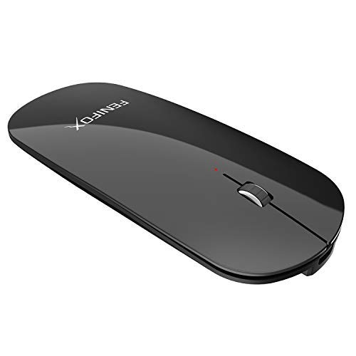 FENIFOX Bluetooth Maus, Kabellose Wiederaufladbar Mouse Wireless Schnurlos 3D Optische Dünn Flach Slim Mini Klein Tragbare Leise Auf Reisen Für Laptop Computer Pc Notebook (Schwarz)