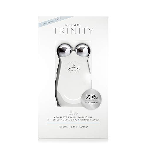 NuFACE Anniversary Complete Facial Toning Kit , Trinity Facial Device & ELE and TWR Attachments , Handheld Device to Lift Contour Tone Skin & Reduce Look of Wrinkles , FDA-Cleared At-Home System