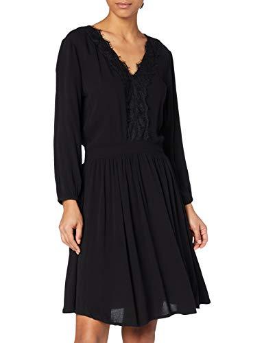 TOM TAILOR Denim Damen Spitzenbesatz Kleid, 14482-Deep Black, L
