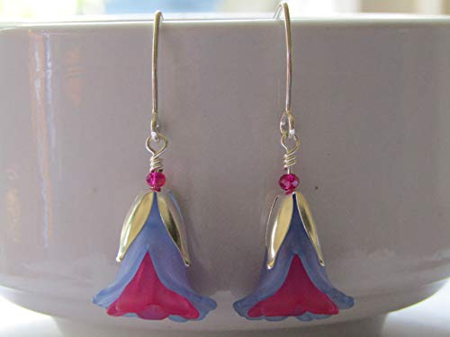 Blue/Pink Lucite Flower Silver Dangle Earrings