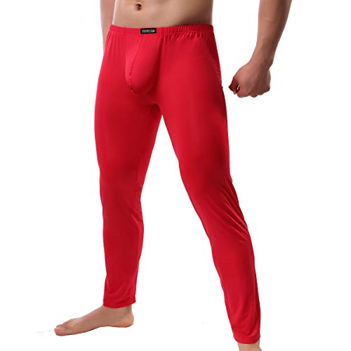 YFD Herren Lange Unterhosen mit Weichbund transparent Hose Unterwäsche Strumpfhose Leggings (XXL, Dicker Rot)