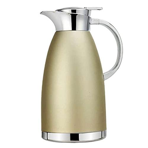 HDHUIXS Botella de Agua de Vidrio aislada de vacío de Doble Capa de Acero Inoxidable de 1.8L, Fabricante de café/Conjunto de té, a Prueba de Fugas y Aislamiento térmico de Gran Capacidad (Color caqu