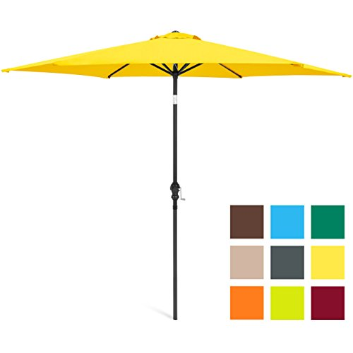 Best Choice Products 10-Foot Outdoor Table Compatible Steel Polyester Market Patio Umbrella w/Crank and Easy Push Button Tilt, Yellow