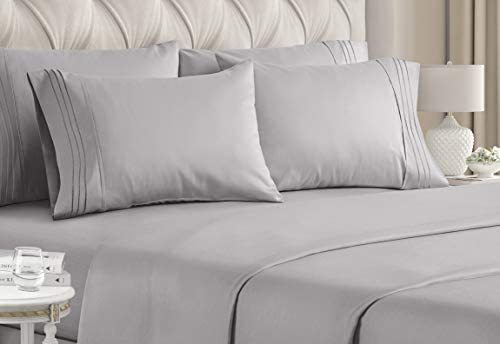 Queen Size Sheet Set – 6 Piece Set – Hotel Luxury Bed Sheets – Extra Soft – Deep Pockets – Easy Fit – Breathable & Cooling Sheets – Wrinkle Free – Grey – Light Grey Bed Sheets – Queens Sheets – 6 PC