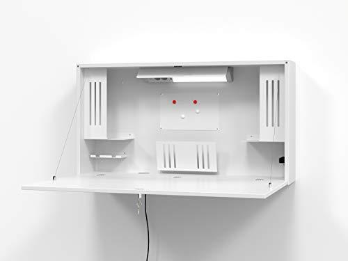 Hammerbacher Wandschreibtisch, platzsparend, ideal fürs Home Office/Arbeitszimmer, Mini-Büro Schreibtisch (Weiß)