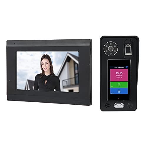 7in 1080P WiFi Video Portero Teléfono Intercomunicador Cámara Monitor Inalámbrico Huella digital Contraseña Reconocimiento facial Visión nocturna Control de acceso remoto para sistemas (EU)