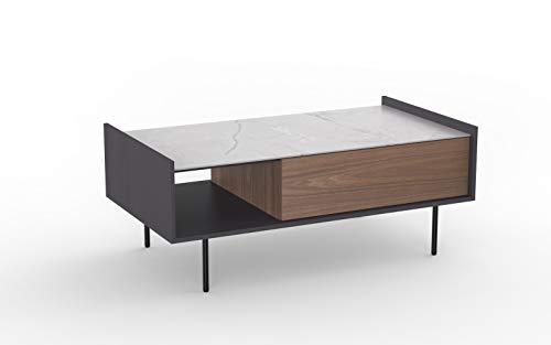 Amazon Marke - Rivet Couchtisch, 110 x 60 x 43,5cm, Nussbaum/Grau