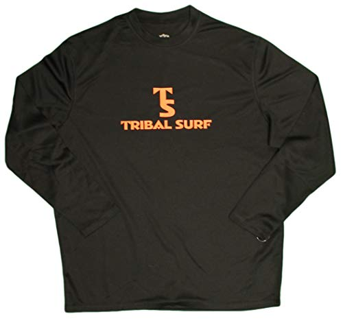 Tribal Surf Men's Loose Fit Long Sleeve UPF 50 (SPF 50) Rash Guard Surf/ Swim Shirt (X-Small, Black)