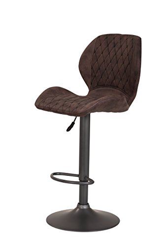 2er Set Barhocker Sonja, Bezug Vintage Braun, Metallfuß Grau, höhenverstellbar, drehbar 360°
