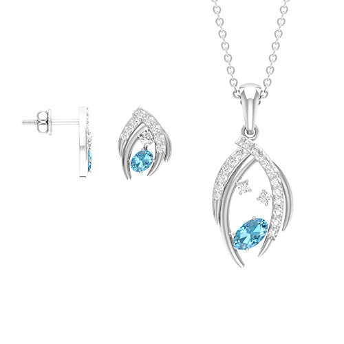 1.13 quilates con forma ovalada de aguamarina colgante de diamante, aretes de tuerca de piedra preciosa azul, juego de collar y pendientes (calidad AAA) azul