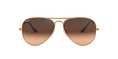 Ray-Ban RB3025 Aviator Classic Sunglasses, Shiny Light Bronze/Pink Gradient Brown, 55 mm