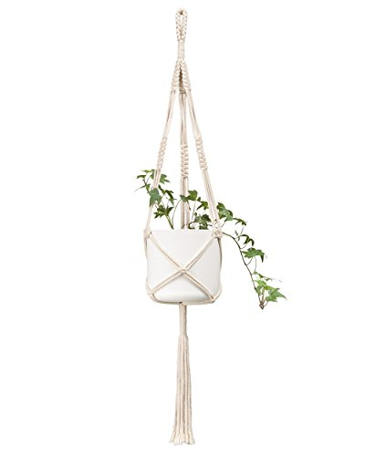 Mkono Macrame Plant Hanger Indoor Outdoor Hanging Planter Basket Cotton Rope 3 Legs 39 Inch, Set of 2