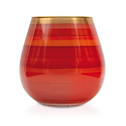 Angela Neue Wiener Werkstätte Windlicht Vesuvio Tomato Vasen aus farbigem Glas, Rot, 15 cm