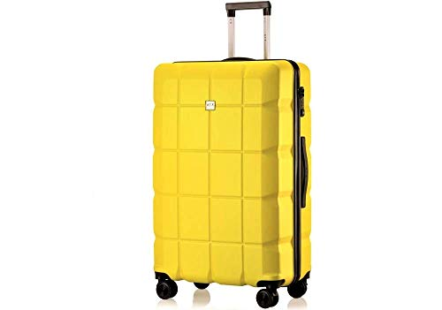 ATX Luggage 28' Large Super Lightweight Durable ABS Hardshell Hold Luggage Suitcases Travel Bags Trolley Case Hold Check in Luggage with 8 Wheels Built-in TSA Lock (28' Large, Yellow)