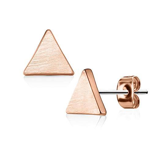 Bungsa® dreieckige Ohrstecker Damen gebürstet Rosegold aus 316L Edelstahl