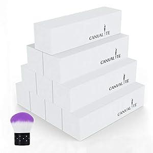 Canvalite - Bloque de lima para uñas con cepillo de uñas, 10 unidades, 120 granos, para uñas de gel