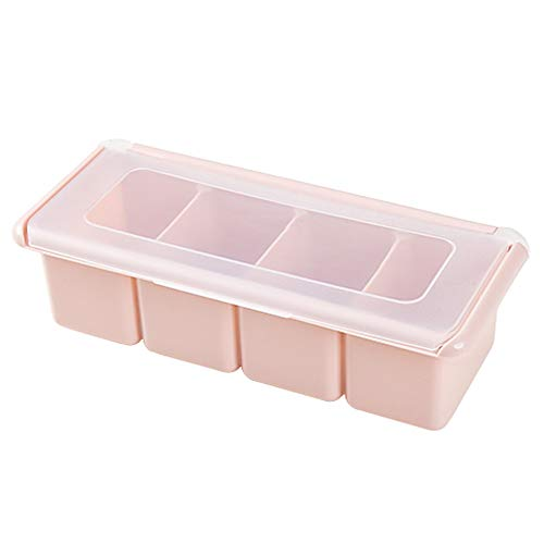 Caja de Especias Botella de Condimento con 4 Compartimentos - Cierre hermético para la preservación de Especias aromáticas y Frescas, Rosa