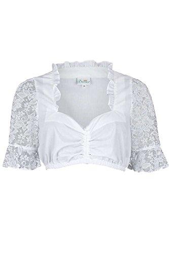 Trachten Stoiber Damen Dirndl Bluse mit Spitzen-Ärmeln weiß, Weiß, 42